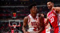 1Q 2Q 3Q 4Q Total Philadelphia 76ers (27-45) 24 35 34 24 117 Chicago Bulls (34-39) 28 18 25 36 107 Game Stats